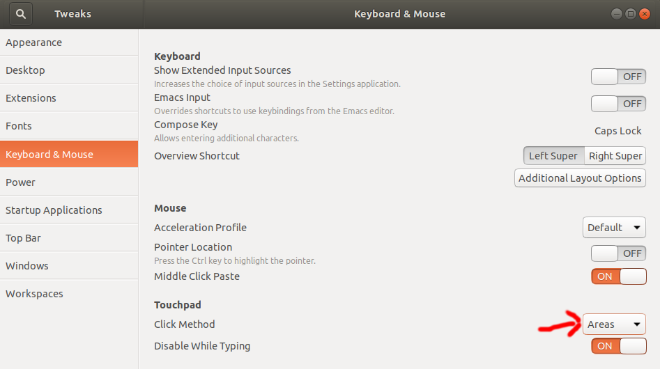 The gnome-tweak-tool mouse and touchpad tab
