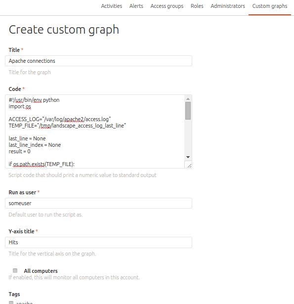 Landscape custom graph creation form