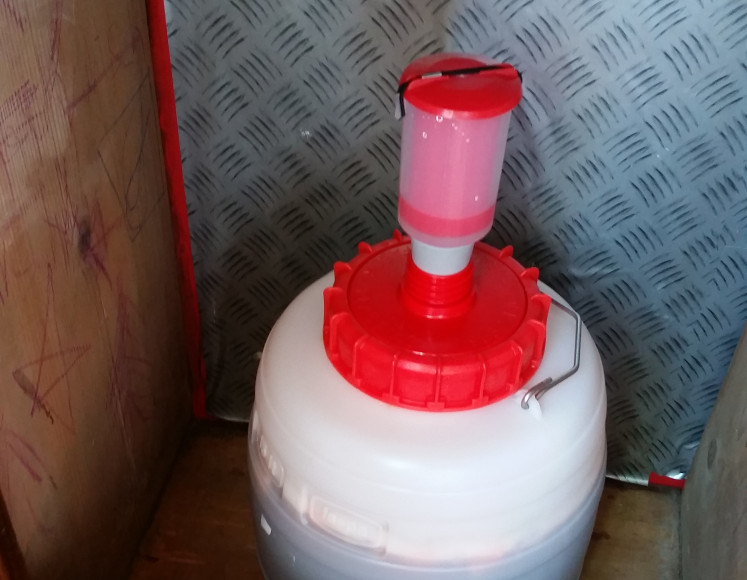 The carboy sitting in a cabinet. Notice the lower water level in the airlock.